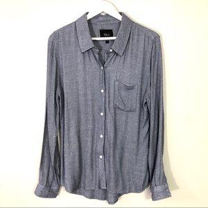 Rails blue/white button down long sleeve top